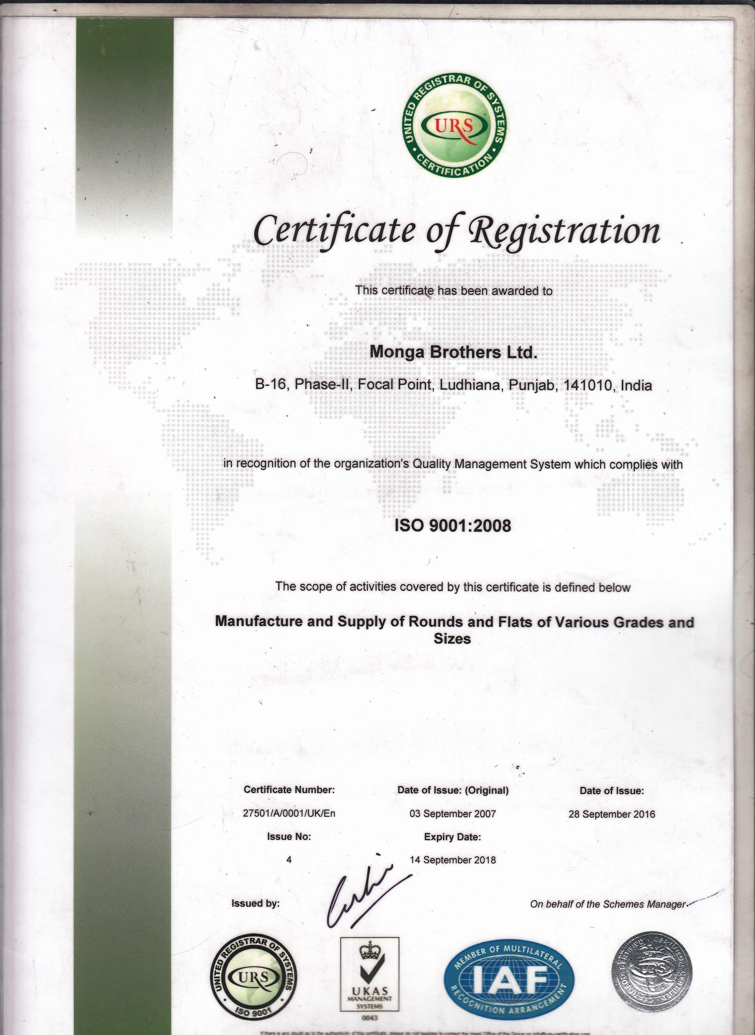 Monga Brothers Certificates 9001:2008