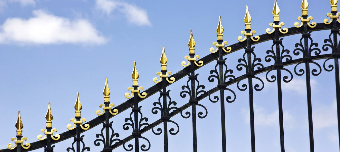 forged ornamental iron gate tops, ornamental iron flowers, leaves, circles manufacturer exporter